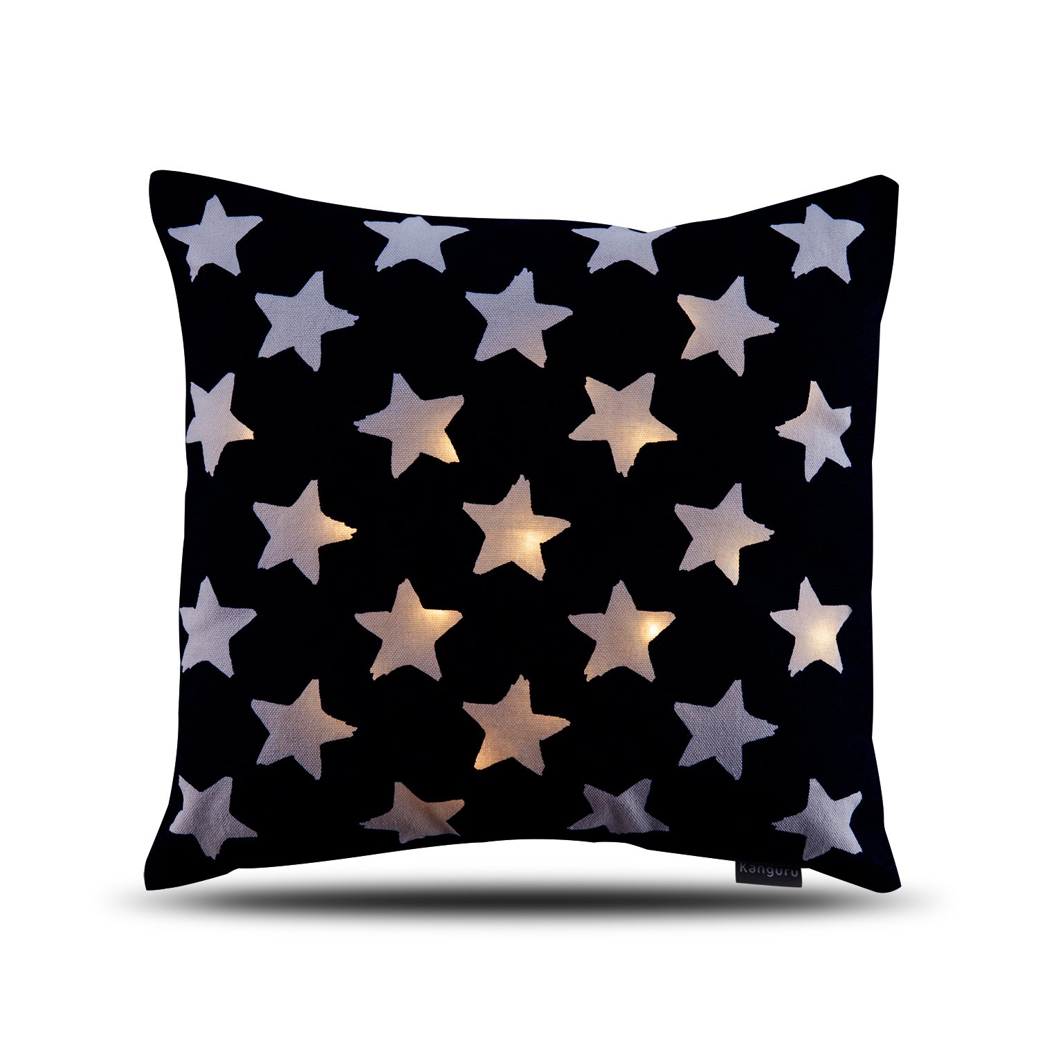 """Kanguru LED Pillow – Super Soft Battery Operated Light-Up Throw Pillow With Illuminated Pentagram Design Stars – 16""""x16"""" Decorative Square Cushion For The Sofa, Chair, Bed – Designed In Italy"""