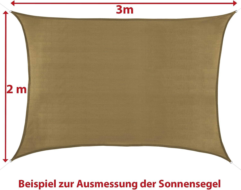BB Sport Tenda Velo Sole 2m x 2.5m Terracotta Vela Sole Ombreggiante HDPE Protezione Solare UV 90/% Parasole Giardino Esterni