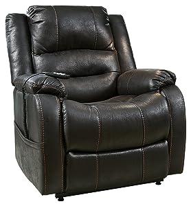 Ashley Furniture Signature Design - Yandel Power Lift Recliner - Contemporary Reclining - Black