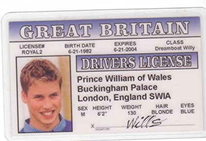 Online Novelty Buy William At Drivers - in Low Prices Amazon London Royal Family Fake d Fans Wales Identification Of In I Prince For License The India