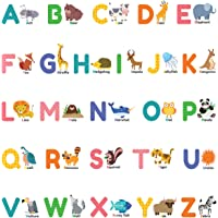 DECOWALL DS-8014 Colourful Animal Alphabet ABC Kids Wall Stickers Wall Decals Peel and Stick Removable Wall Stickers for…