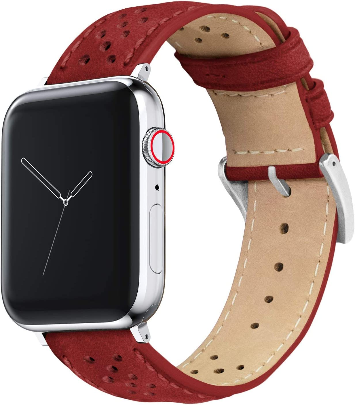 42mm/44mm Crimson Red - Barton Racing Horween Leather Watch Bands with Integrated Quick Release Spring Bars- Compatible with All Apple Watch Models - Black PVD Hardware