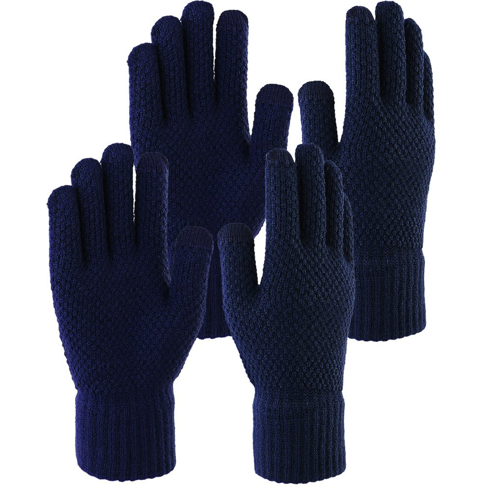 Novawo 2 Pairs Unisex Winter Warm Gloves Touchscreen Gloves Knit Gloves Texting Gloves for Men Women