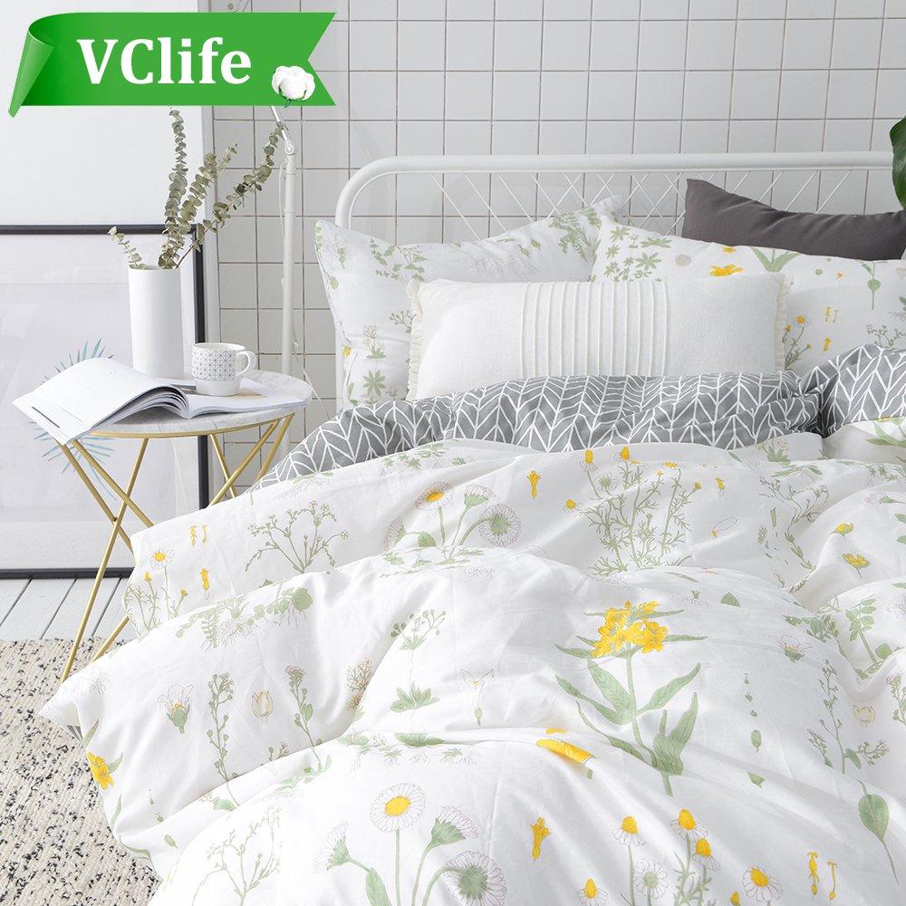 VClife Floral Duvet Cover Sets Full Queen Bedding Sets White