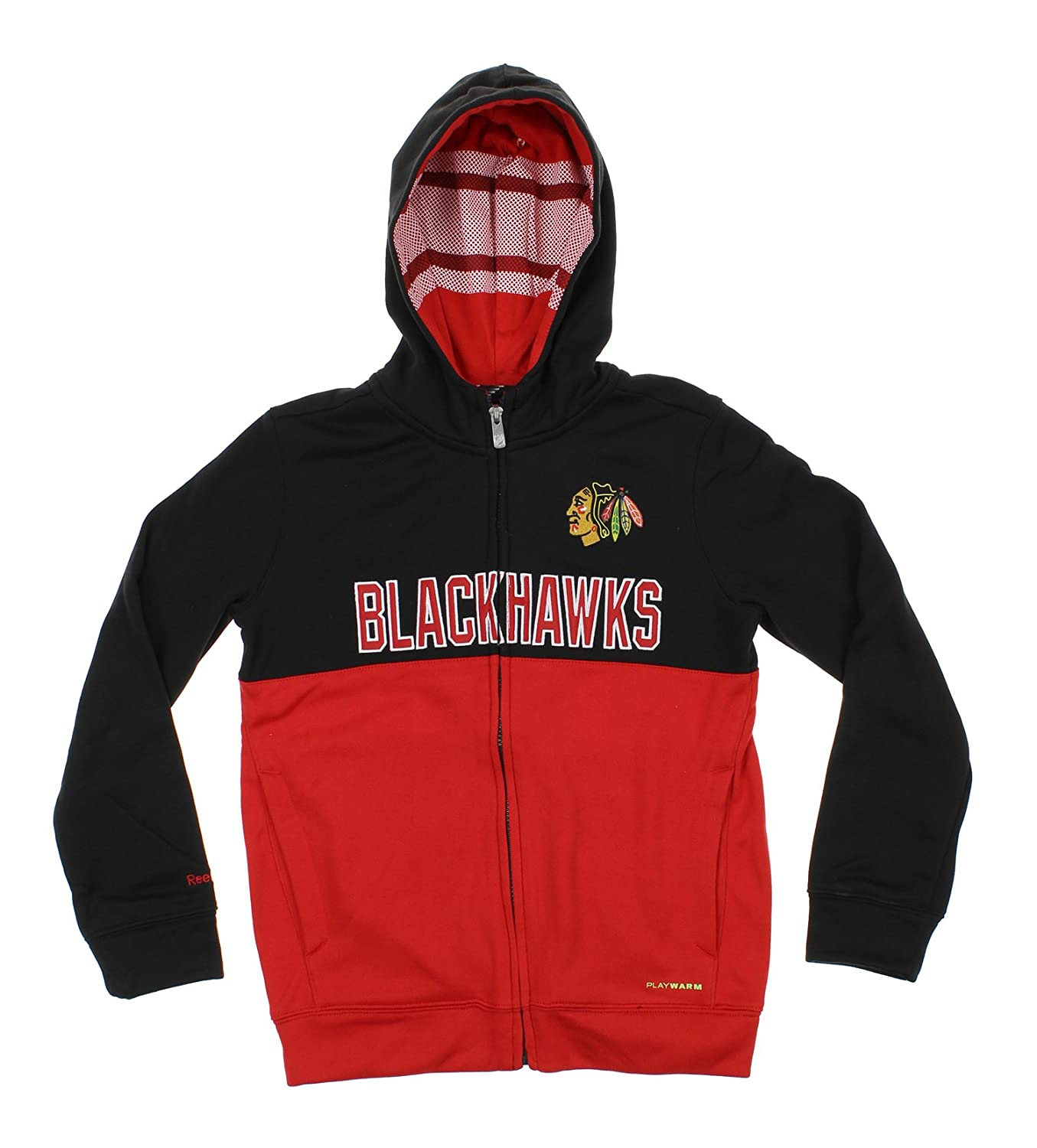 Amazon.com   Reebok NHL Chicago Blackhawks Youth Drop Pass Full-zip Fleece  Hoddie dc3352ef1