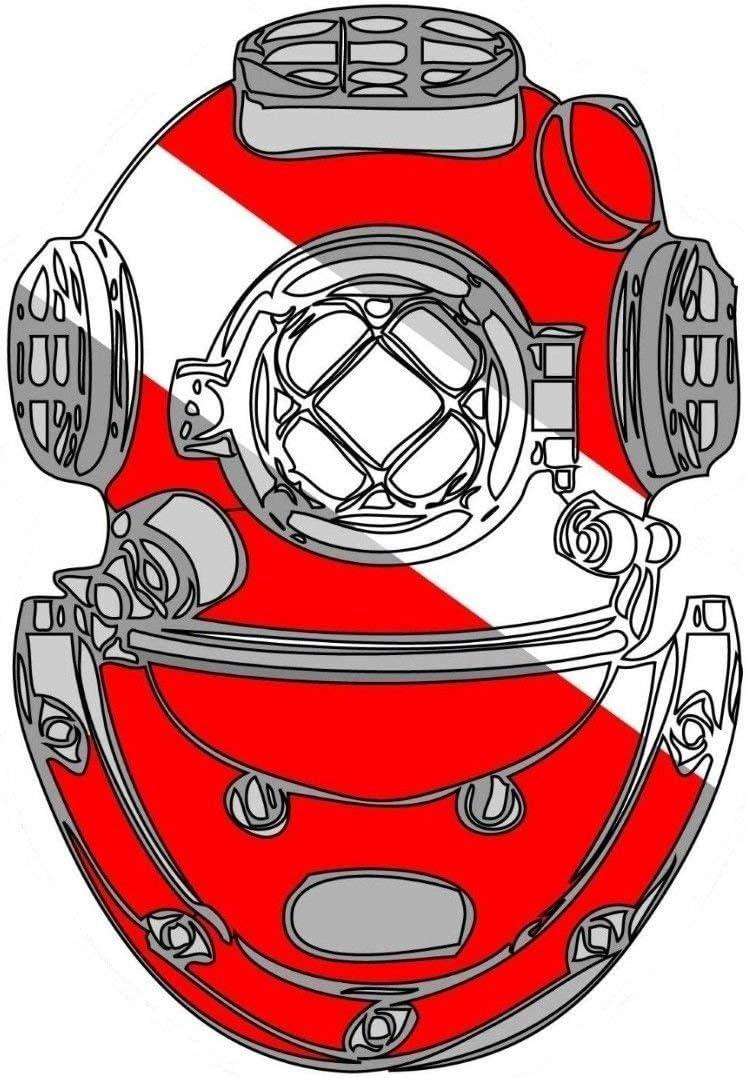 SCUBA DIVING DIVER HELMET BUMPER STICKER TOOLBOX STICKER LUNCH BOX LAPTOP
