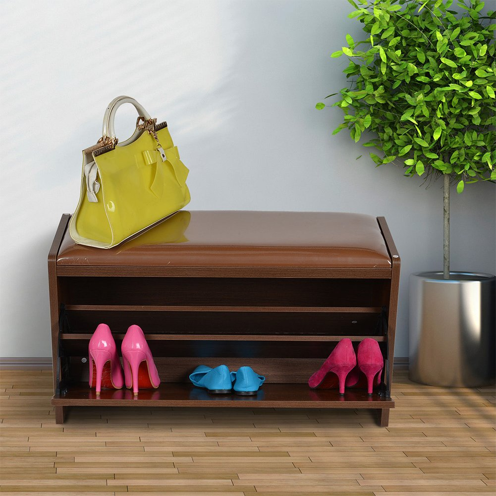 New deluxe shoe storage cabinet closet wooden ottoman bench seat rack - Ottoman Shoe Cabinet Seat Storage Closet Wooden Rack Cupboard Shoes Bench Drawer Amazon Co Uk Kitchen Home
