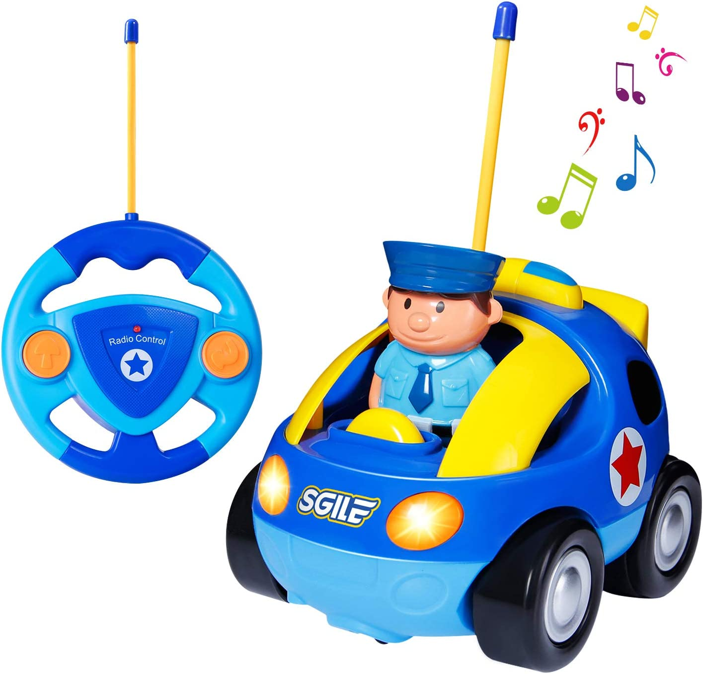 SGILE Coche Teledirigido con Luces y Música, Coche Juguete Bebe de Cartoon, niños 1 2 años (Azul)