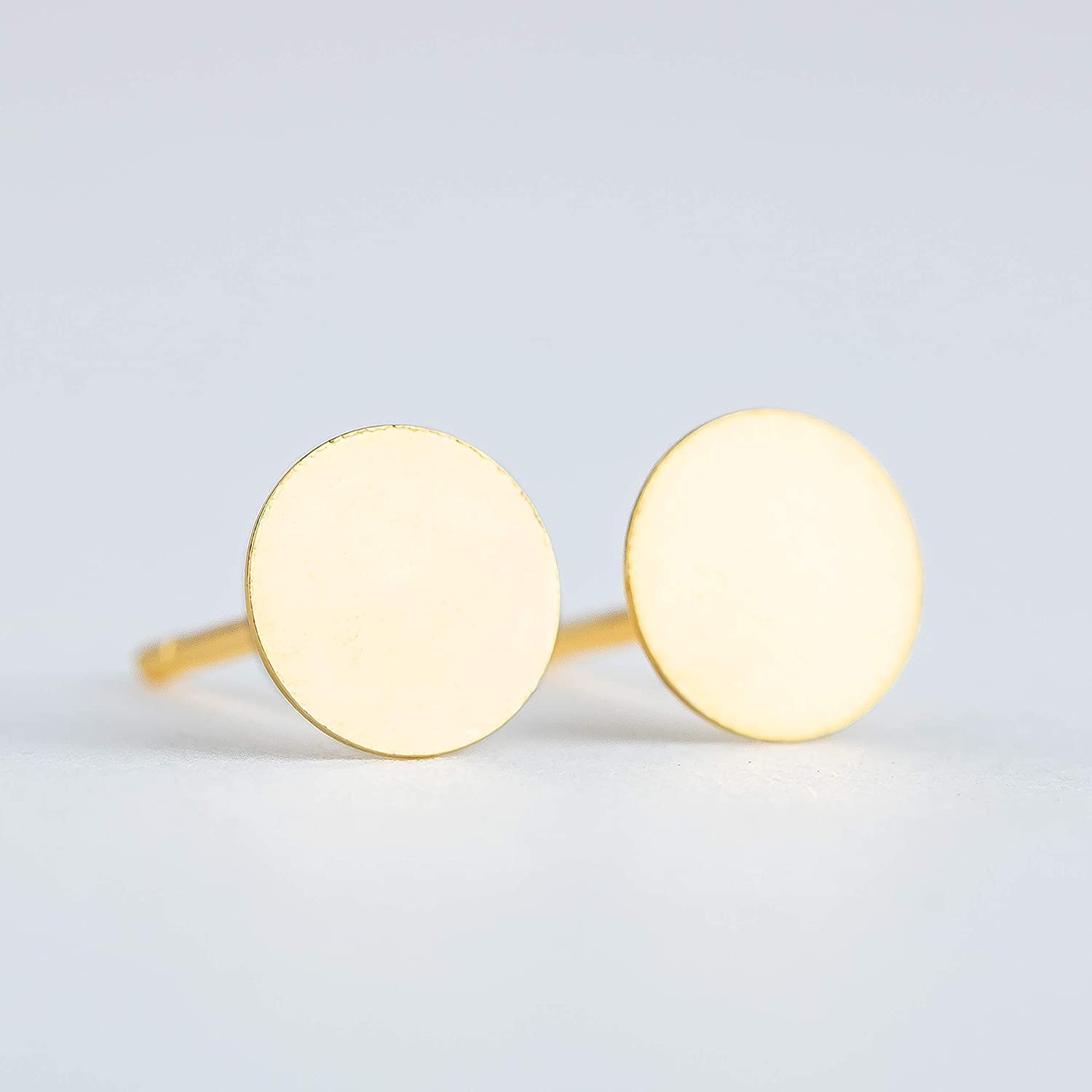5mm Round Circle Disc Stud Earrings in Gold Vermeil