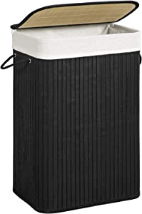 SONGMICS Bamboo Laundry Hamper, Laundry Basket with Removable Lid, Liners, 19 Gal (72L), for Bedroom, Laundry Hamper, Black ULCB11BK