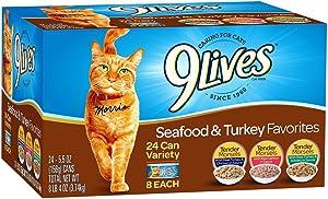 9 Lives Seafood & Turkey Favorites Wet Cat Food Variety (24 Pack), 5.5 oz