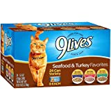 9 Lives Seafood & Turkey Favorites Wet Cat Food Variety (24 Pack)