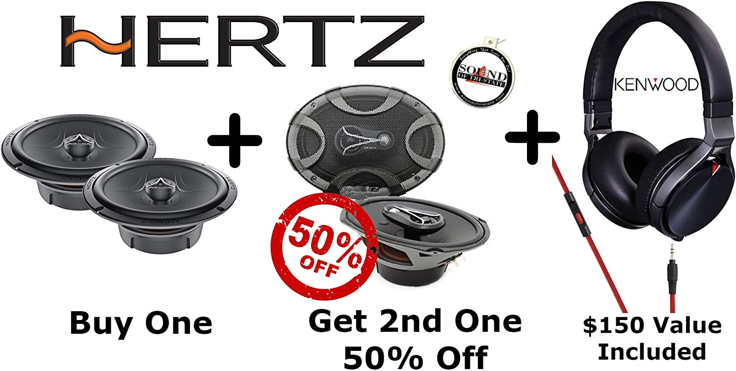 Hertz ECX165.5 6.5 2 Way /& ECX690.5 6x9 3 Way Car Speakers with Kenwood KH-KR900 Headphones Bundle