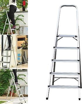 Escalera plegable de 5 peldaños de aluminio, 330 libras de carga máxima, antideslizante, para decoración del hogar, cocina, oficina, hogar: Amazon.es: Bricolaje y herramientas