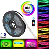 Gluckluz LED Light Strip Smart Bluetooth Lighting 2m USB Smartphone APP Control RGB 5050 Color Changing Waterproof TV Backlight Strip for Bedroom Indoor Decoration (NO Remote Control)