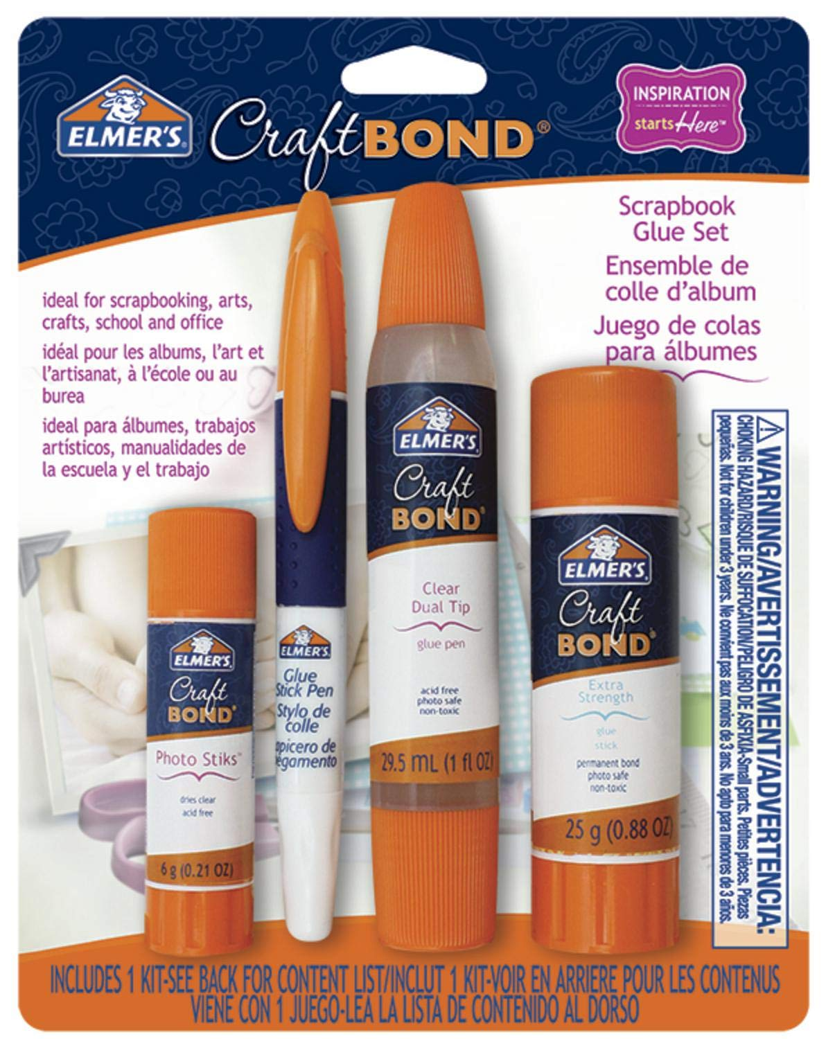 Elmer's CraftBond Scrapbook Glue, 4 Piece Set, Natural