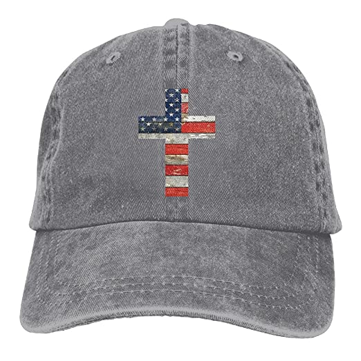 Cross USA Flag Denim Hat Adjustable Women Surf Baseball Cap at ... 86cdcaacba9