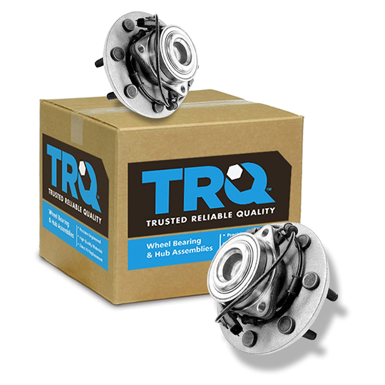 TRQ Front Wheel Hub & Bearing Assembly Pair for Ram Pickup Truck 2WD 2x4 w/ABS