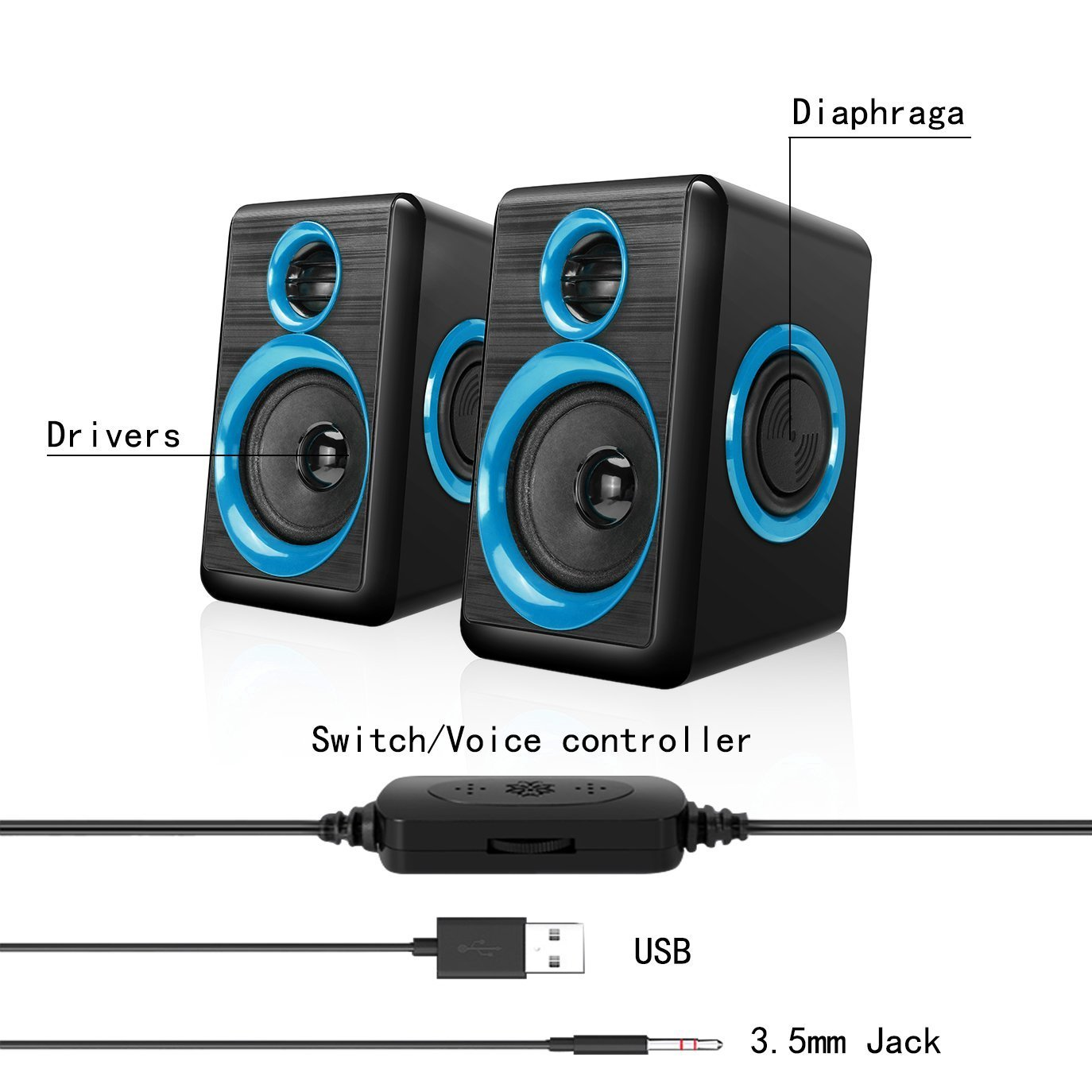 Computer Speakers,AIERSIQI USB Wired Powered Mulitimedia Speaker with Subwoofer Volume Control Built-in 4 Loudspeaker Diaphragm for PC/Laptop/Desktop by AIERSIQI (Image #2)