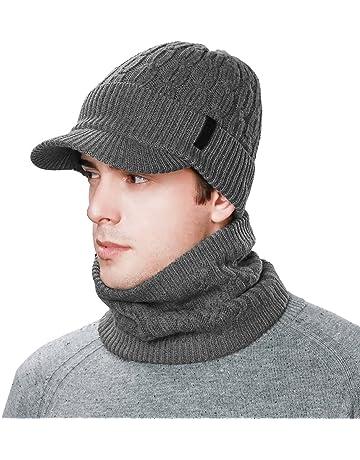 7123626a053b7 Siggi Wool Knit Visor Beanie Winter Hat Scarf Sets Fleece Mask Neck Warmer  for Men