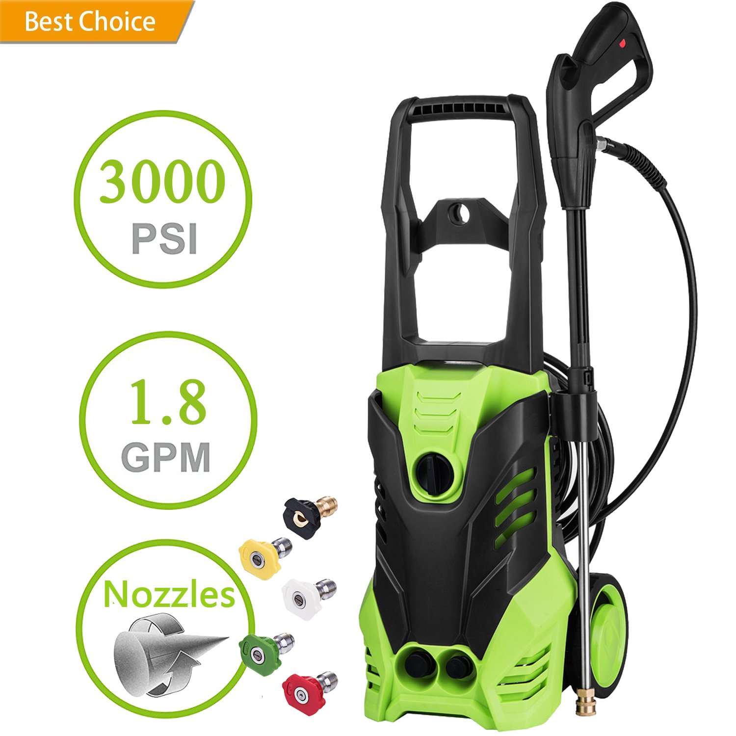 3000PSI Pressure 1.8 GPM 1800W High Pressure Washer Electric Pressure Washer by Oanon