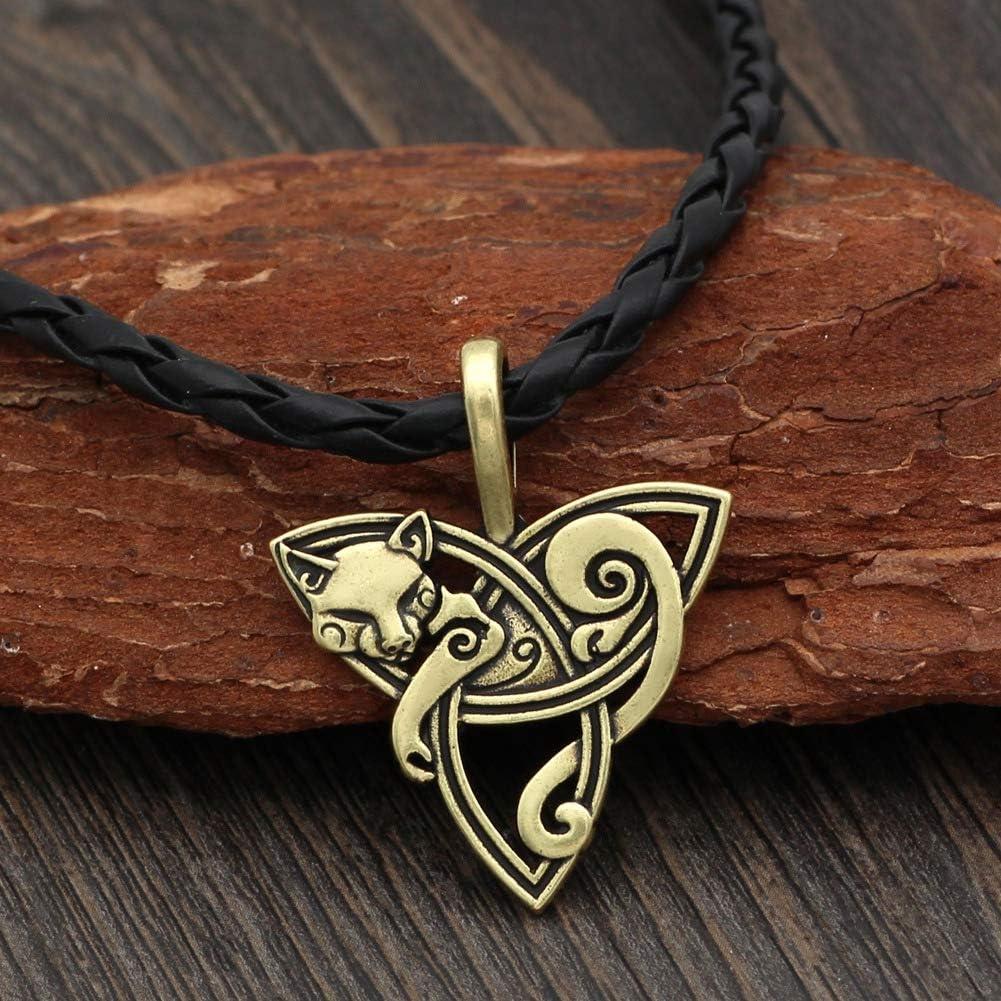 Cat Necklace Trinity Knot Celtic Pendant Amulet Large Punk Viking Animal Jewelry