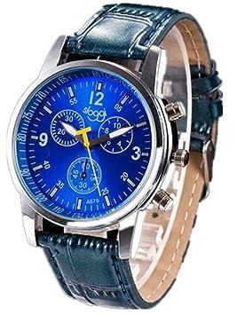 2017 hombre Relojes de pulsera de reloj de moda de moda de lujo de cocodrilo Faux cuero para 68 Movimiento (Azul): Amazon.es: Deportes y aire libre