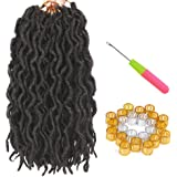 LEEONS 6Packs/Lot 12'' Bo Locs Wavy Faux Locs Crochet Synthetic Braiding Hair Pre-loop Crochet Braids Soft Curly Faux…