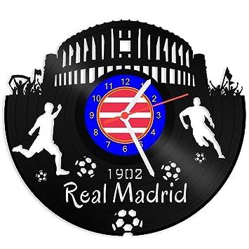 Grabado Línea Tocadiscos Reloj Real Madrid - 100% del amor - upcycling Diseño reloj de pared de vinilo fabricado en Alemania.: Amazon.es: Hogar