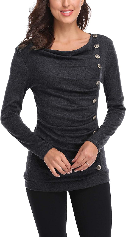 Urban GoCo Donna Maglia a Manica Lunga Maglietta Casual Draped Camicia Long Pullover