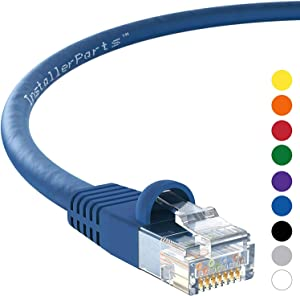 InstallerParts (10 Pack Ethernet Cable CAT5E Cable UTP Booted 5 FT - Blue - Professional Series - 1Gigabit/Sec Network/Internet Cable, 350MHZ