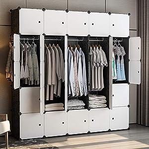 GEORGE&DANIS Portable Closet Clothes Wardrobe Storage Dresser Cube Organizer Storage Carbinet Shelf DIY Furniture, Black, 18 inches Depth, 5x5 Tiers