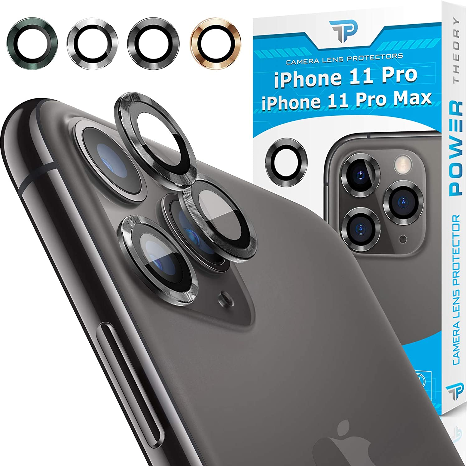 Power Theory iPhone 11 Pro & iPhone 11 Pro Max Camera Lens Protector - Easy Installation [Premium Tempered Glass] [Space Gray]