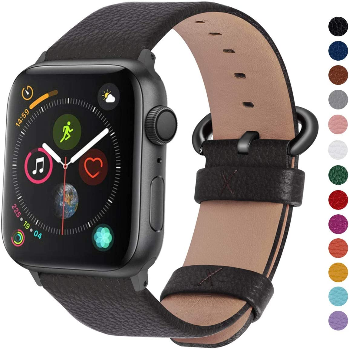 Fullmosa Compatible Apple Watch Band 42mm 44mm 40mm 38mm Leather Compatible iWatch Band/Strap Compatible Apple Watch Series 5 4 3 2 1, 42mm 44mm Space Grey + Gunmetal Buckle