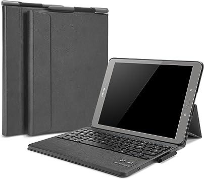 Omoton - Funda con teclado francés AZERTY para Samsung Galaxy Tab S3 9.7 - Teclado Bluetooth desmontable, de piel sintética y con tapa - Color negro