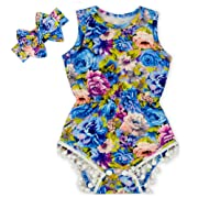 Anbaby Gilrs Bronzing Dot Romper Climbing Clothes with A Bow Headband Royal Blue 0-6Months