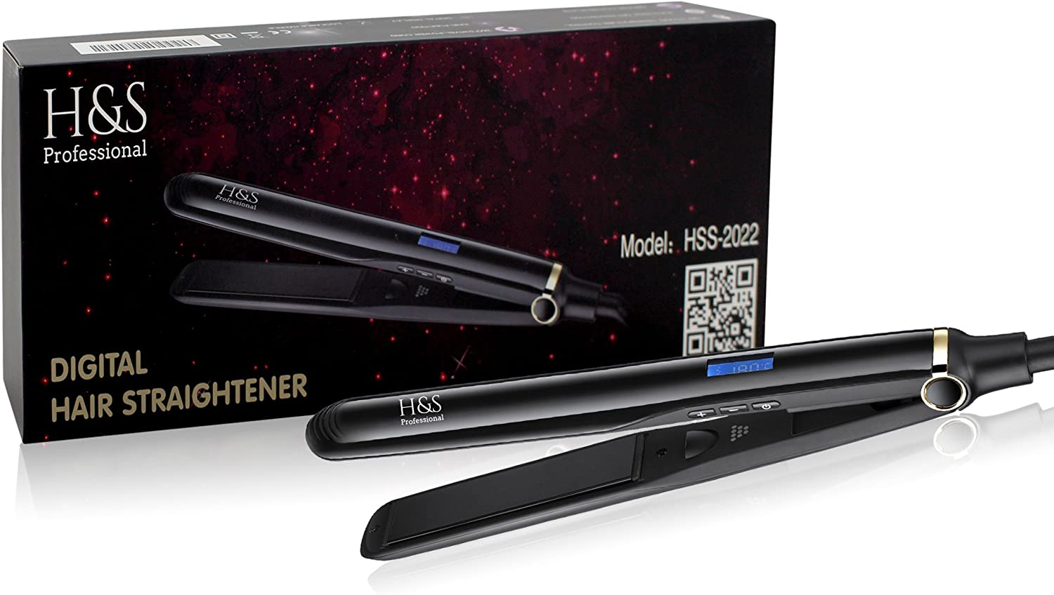 H&S Pro Ionic Hair Straightener Professional Flat Iron with Active Ionic Function for Instant Shine and Frizz Free Hair, 100% Ceramic Plates