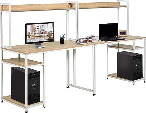 HOMCOM Industrial Double Computer Desk Extra Long 2 Person Workstation Separable Design