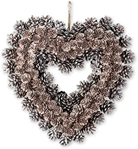Collections Etc Frosted Pinecone Heart Wreath