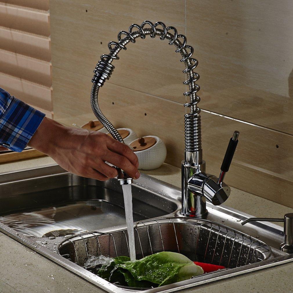 Auralum Robinet Cuisine Mitigeur Evier Robinetterie Pivotant /à 360/°en eau Froid et eau Chaud