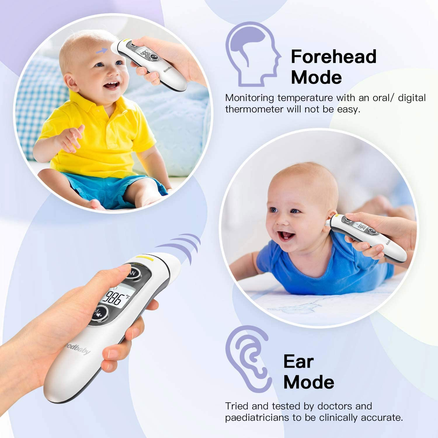 [2020 Updated] Goodbaby Ear Thermometer –Ear and Forehead Function with Fever Alarm and Memory Function – Ideal for Babies, Infants, Children, Adults, Indoor, and Outdoor Use