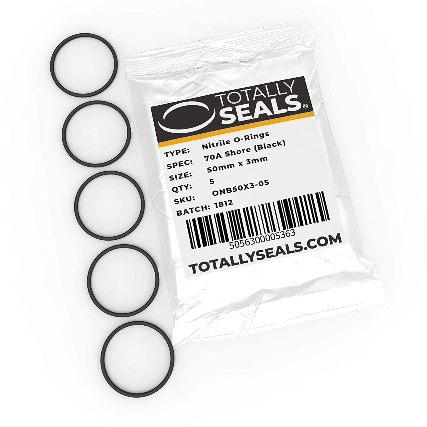 Pack of 10 50mm OD Nitrile Rubber O-Rings 70A Shore Hardness 44mm x 3mm