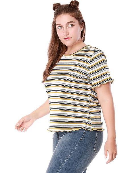 21120cf3 Agnes Orinda Women's Plus Size Short Sleeves Ruffled Striped T-shirt 1X  Yellow