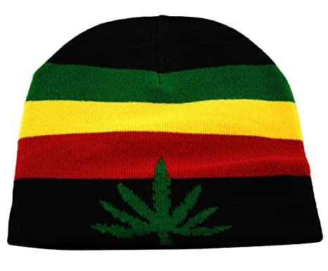 f02b076bfb5 Rasta Skully Beanie Knit Hat Cap Weed Ganja Leaf in Black Red Yellow Green   Amazon.co.uk  Clothing