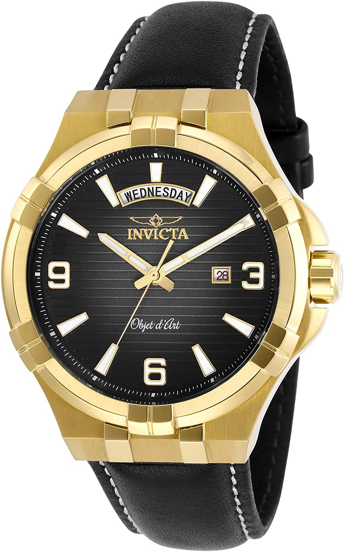 Invicta Men s Objet D Art Stainless Steel Quartz Watch with Leather Strap, Black, 24 Model 30186