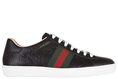 87c2cdae868 Gucci Chaussures Baskets Sneakers Femme en Cuir Signature Noir ...