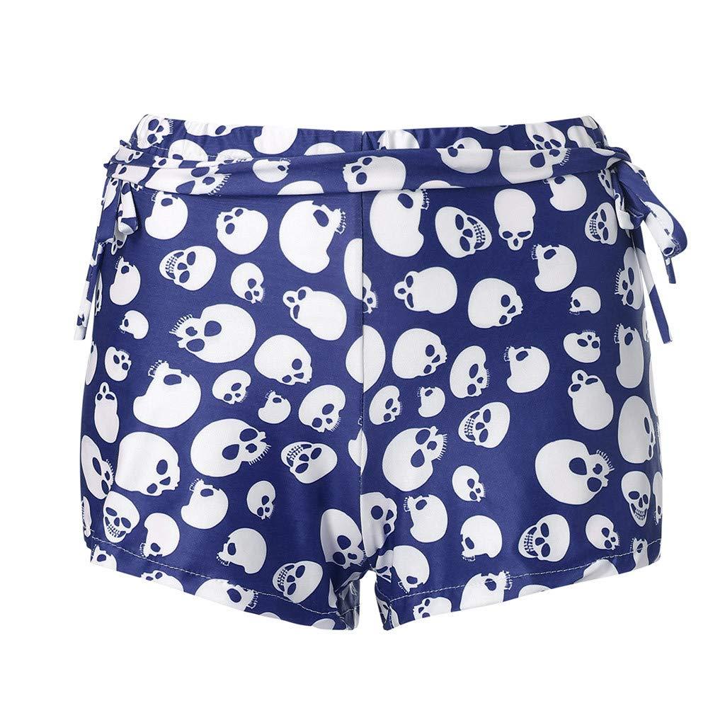 Women Yoga Pants,Jchen(TM) Women Summer Sports Gym Skull Printed Mid Waist Pants Stretch Elastic Shorts Leggings (M/US:6, Blue)