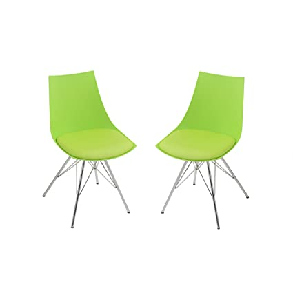 Emerald Home Audrey Green Dining Chair With Molded Plastic Shell, Cushioned  Seat, And Metal