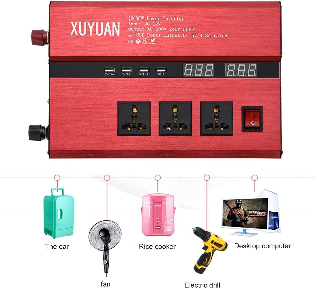 10000W Solar Power Inverter USB LED display AC/DC onda sinusoidale Converter,rosso Type:12V to 220-240V