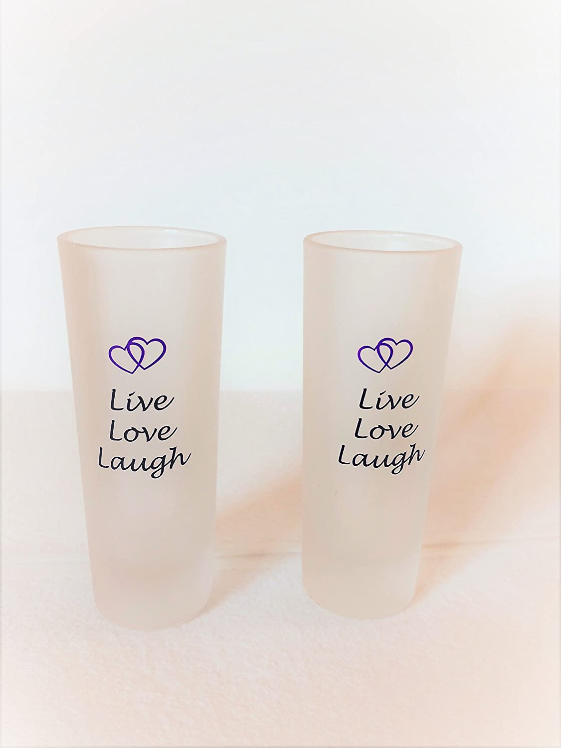 Design Live Love Laugh AMAZING GIFT SET for Someone Special in your LIFE! Shot Glasses JI Custom Glass Set of 2